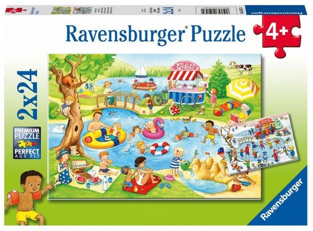 Ravensburger: 2x12-Piece Puzzle Set - Swimming at the Lake