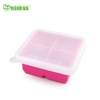 Haakaa: Silicone Baby Food Freezer Tray 4 with Lid - Rose