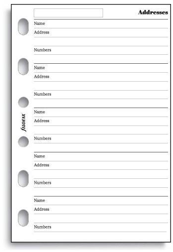 Filofax - Pocket Name, Address, Telephone Number (20 Sheets) image
