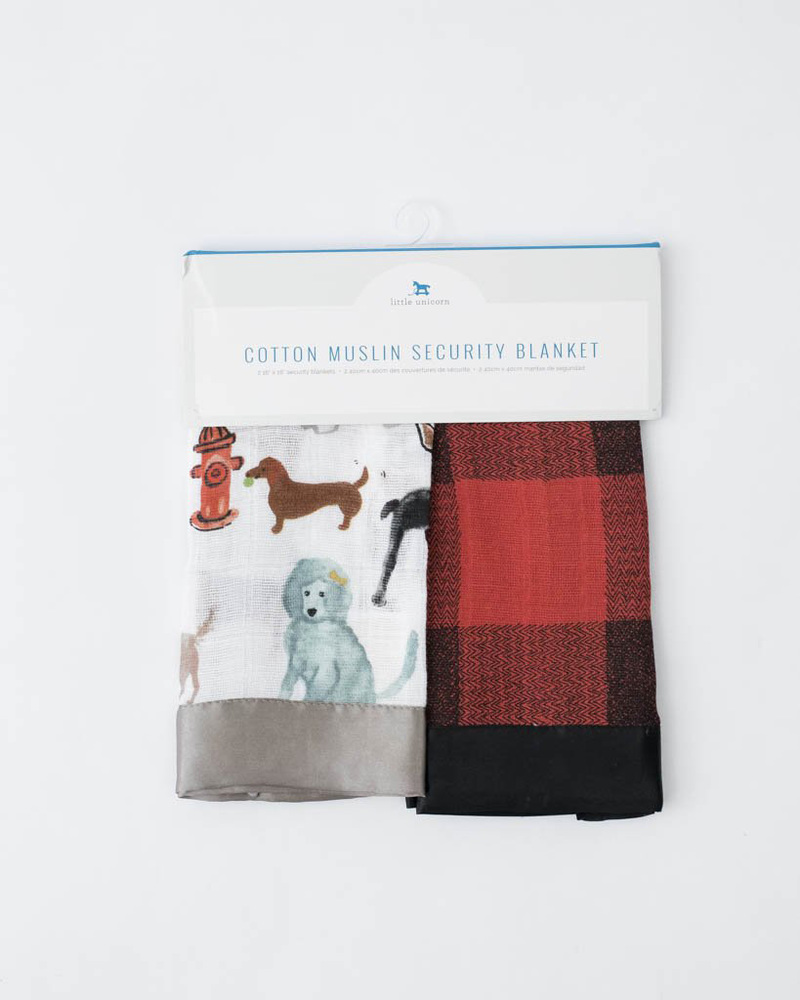 Little Unicorn: Muslin Security Blanket 2 Pack - Woof & Red Plaid image