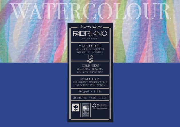 Fabriano: Studio Watercolor Pad 300gsm A4 Cold Pressed - 12 Sheets
