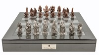 "Dal Rossi: Evil Ring - 20"" Pewter Chess Set (Carbon Fibre)"