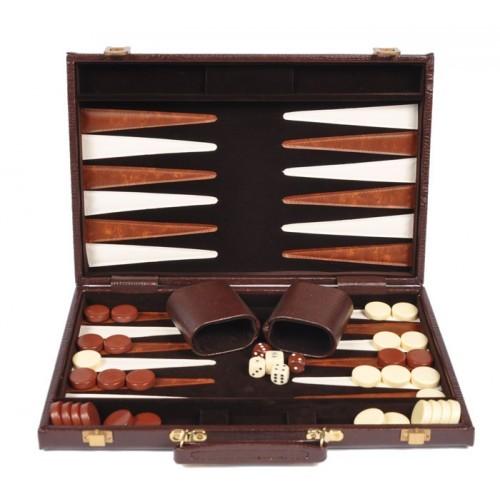 """Backgammon 15"""" Alligator Skin Case - Brown"""