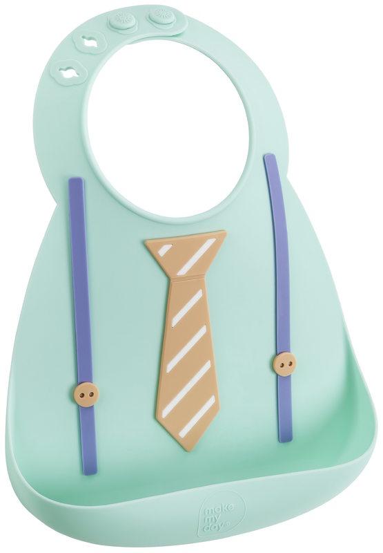 Make My Day: Silicon Baby Bib - Tie & Suspender Green
