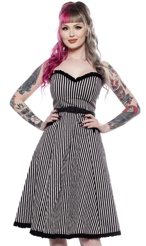 Sourpuss: Striped Sweetheart Dress Black/White (Small)