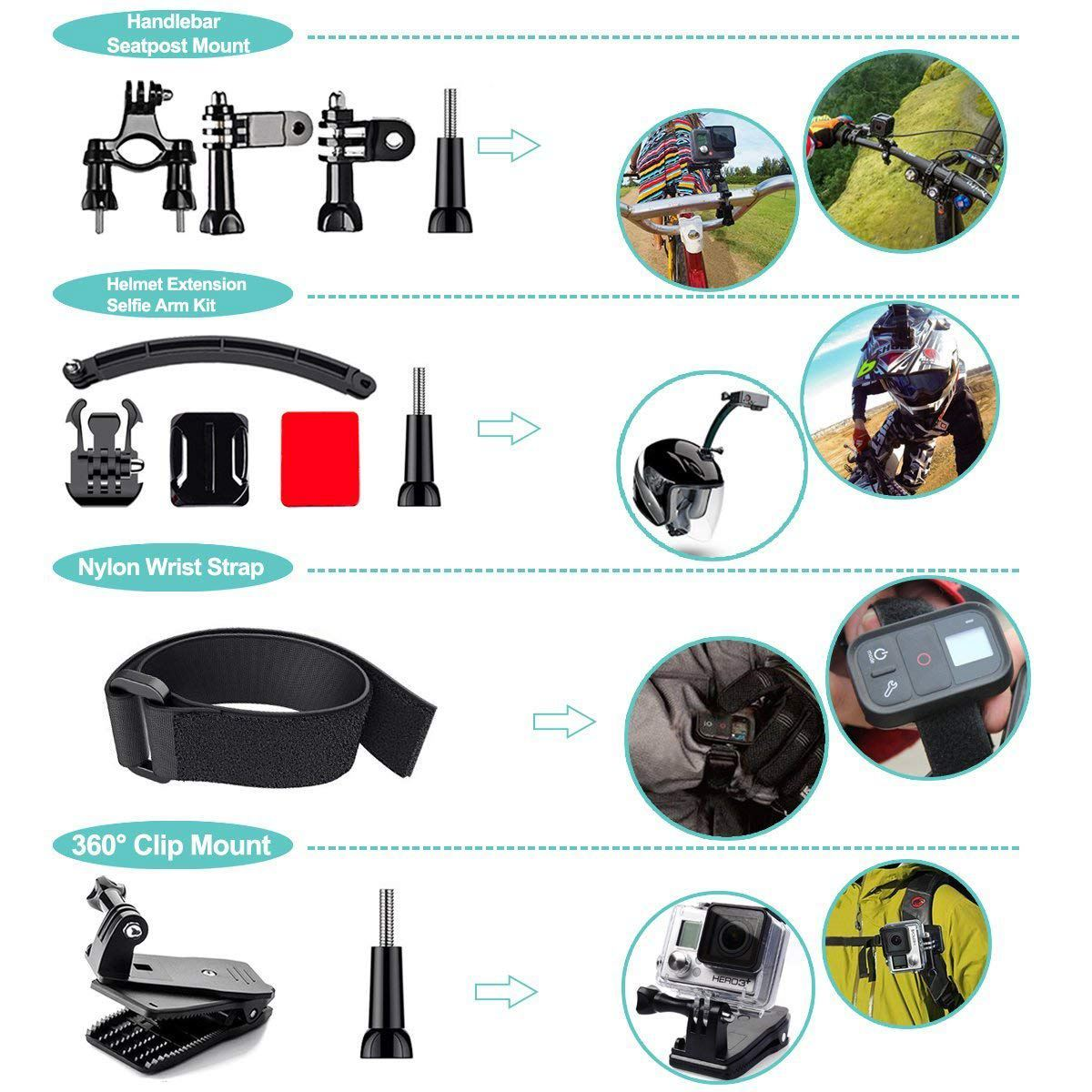 Ape Basics: 50-in-1 Action Camera Accessories Kit for GoPro Hero 8 7 6 5 4 3+ Max image
