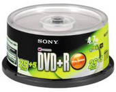 Sony 30DPR47S3 DVD+R Disk 4.7GB 16x (25 + 5  Promotional Spindle Pack)