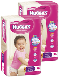Huggies Nappies Bulk Bundle - Toddler Girl 10-15kg (72)