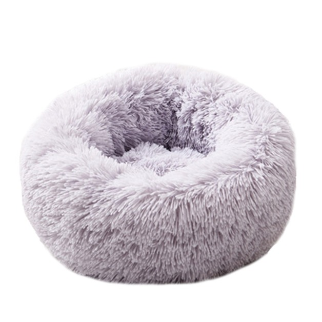 Ape Basics: Long Plush Warm Round Pet Bed - Light Gray (Medium)