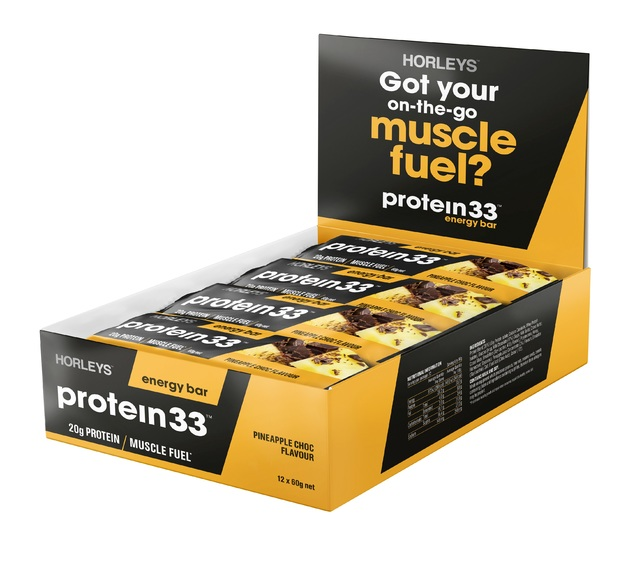 Horleys Protein 33 Muscle Bars - Pineapple Chocolate (12 x 60g Pack)