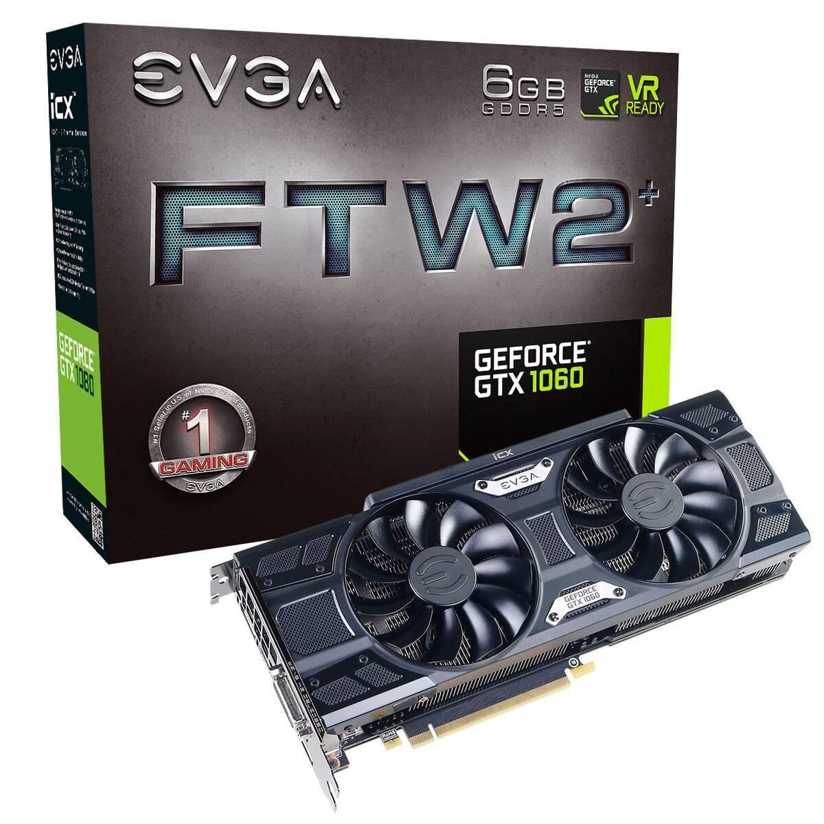 EVGA GeForce GTX1060 6GB GDDR5 FTW2 Version, 9GHz, ICX Cooling, DVI+HDMI+ 3  x Display Port