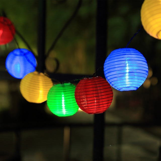 Solar String Lights - 20 LED Lantern Lights image
