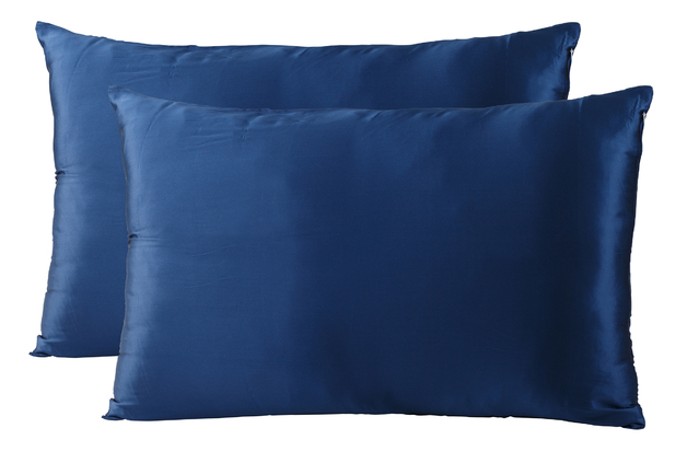 Royal Comfort Mulberry Silk Pillow Case Twin Pack (Navy)