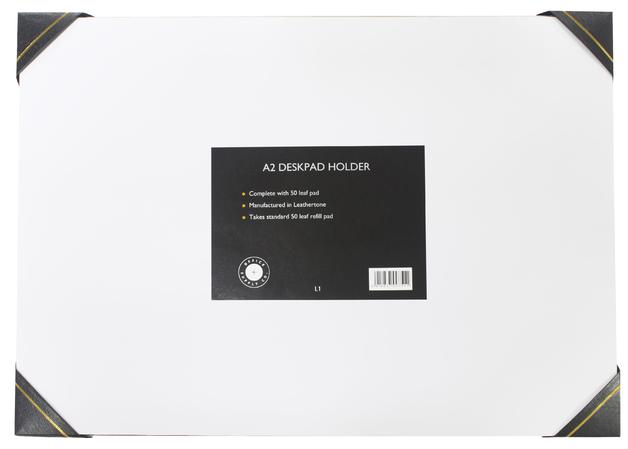 Office Supply Co: Desk Pad Leathertone 4 Black Corners (A2)