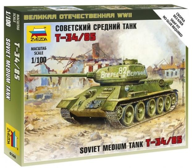 Zvezda: 1/100 T-34/85 Medium Tank - Model Kit