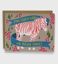 Holiday Spirit Zebra Card