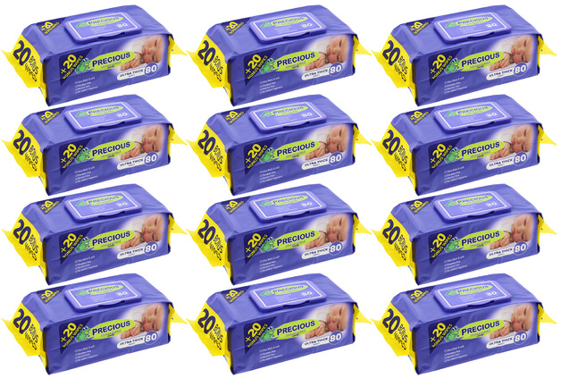 Precious - Ultra Thick Baby Wipes (80 Wipes,Carton 12)