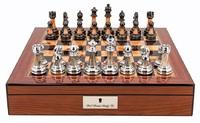 "Dal Rossi: Staunton Metal/Marble - 16"" Chess Set (Walnut Finish)"