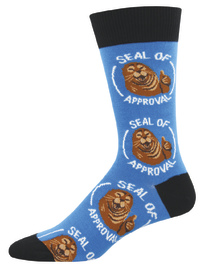 Men's Seal Of Approval Crew Socks - Blue