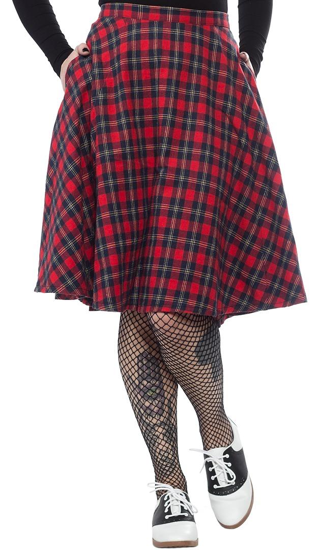 Sourpuss: Sourpuss: Plaid Bonnie Skirt (Red) (S) image