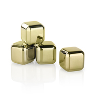 Glacier Rocks - Small Gold Cubes (Set of 4)