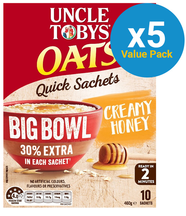 Uncle Tobys Oats Big Bowl (Quick Creamy Honey, 460g) 5pk