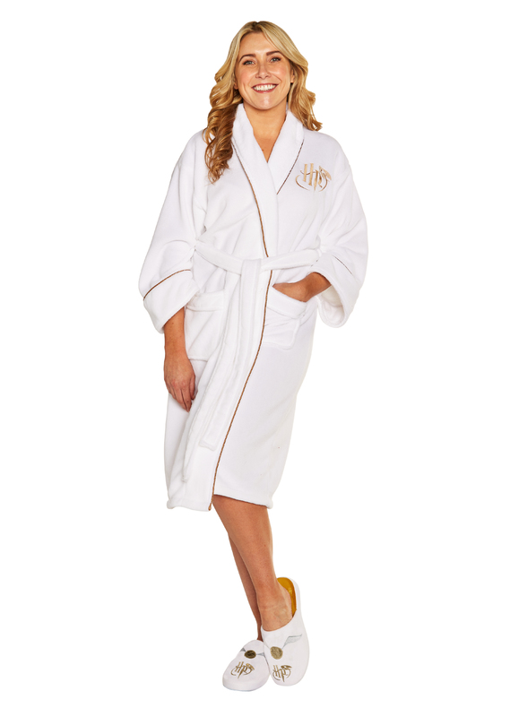 Harry Potter: Golden Snitch Fleece Robe - White & Gold Women's (One Size)