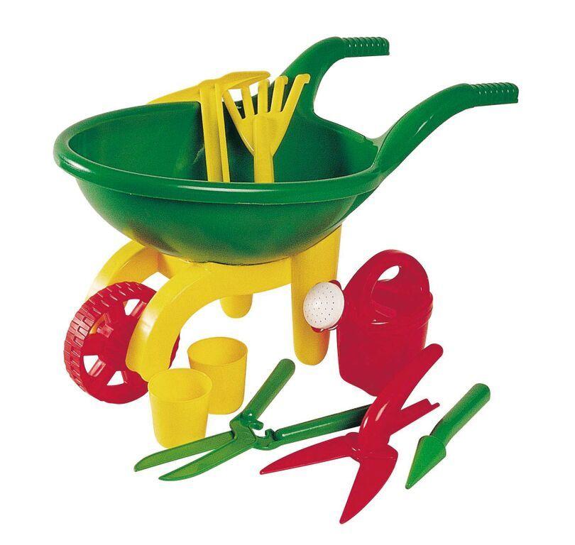 Green Garden Wheel Barrow Garden Set Toy image