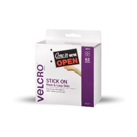 VELCRO Brand Hook & Loop Spots 22mm x 62 Sets White