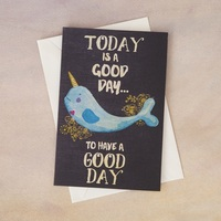 Natural Life: Greeting Card - Good Day Narwhal