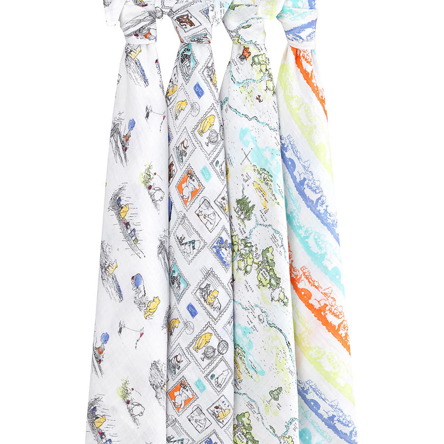 Aden+Anais: Disney Baby Swaddle - Winnie The Pooh (4 Pack Swaddling Wraps) image
