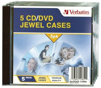 Verbatim CD/DVD Jewel Cases - 5pk (Black)