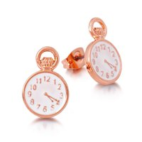 Disney Couture Alice in Wonderland Clock Earrings - Rose Gold