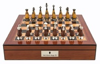 "Dal Rossi: Staunton Metal/Wood - 16"" Chess Set (Walnut Finish)"
