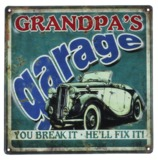 MPH: Metal Wall Plaque - Grandpa's Garage