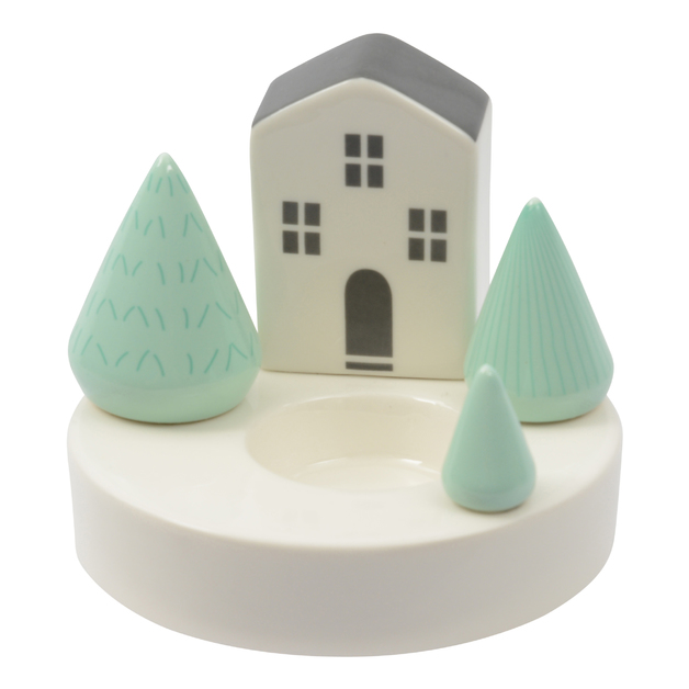 Ceramic Tealight Holder - House with 3 Trees