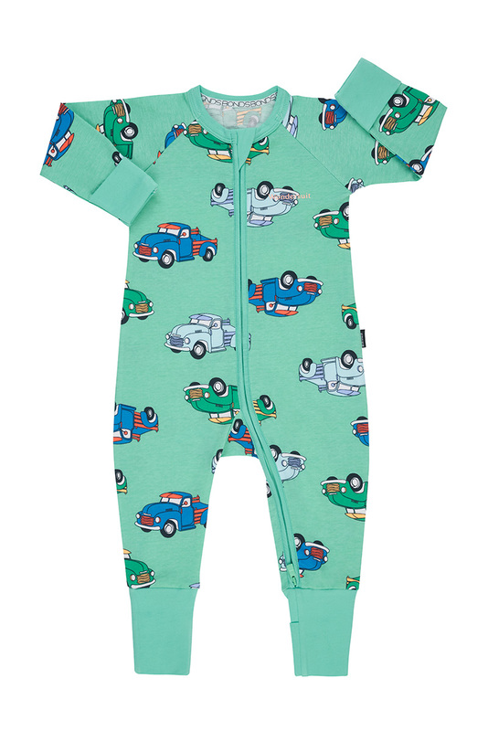 Bonds: Zip Wondersuit Long Sleeve - Farmer Leo's Trucks (6-12 Months)
