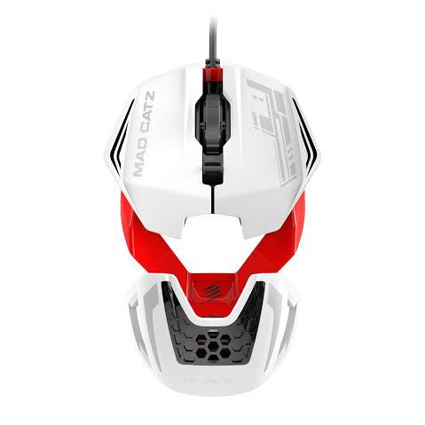 Mad Catz RAT 1 Gaming Mouse (White and Red) for PC Games