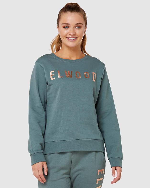 Elwood: Womens Huff N Puff Crew - Hunter Green (12)