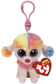 Ty Beanie Boos: Rainbow Poodle - Clip On Plush