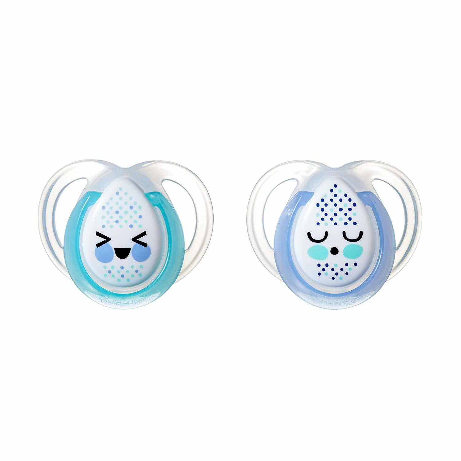 Closer to Nature: Night Time Soothers Twin Pack - 0-6m (Teal and Blue) image
