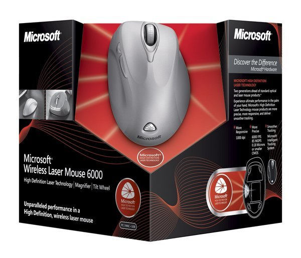 Microsoft Wireless Laser Mouse 6000 Moonlite Silver
