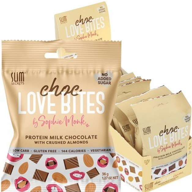 Slim Secrets Protein Choc Love Bites - Milk Choclate with Crushed Almonds (12x36g)