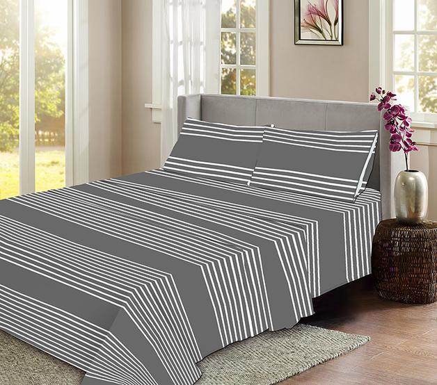Striped Flannelette Sheet Set - King