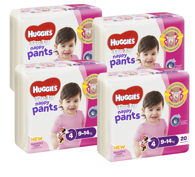 Huggies Ultra Dry Nappy Pants Convenience Value Box - Size 4 Girl 9-14 kg (80)