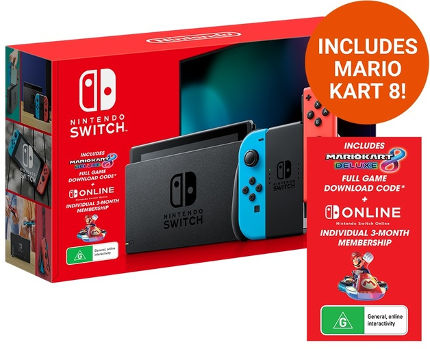 Nintendo Switch Neon Console with Mario Kart 8 Deluxe & 3 Month Switch Online for Switch