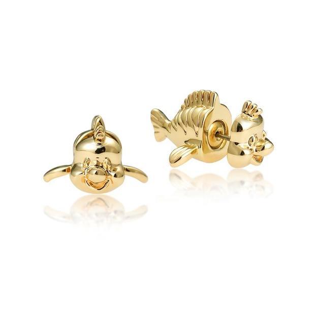 Couture Kingdom: Disney - Princess Ariel Flounder Stud Earrings (Yellow Gold)