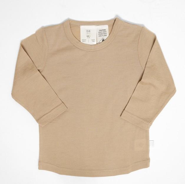 Babu: Merino Crew Neck Long Sleeve T-Shirt - Cinnamon (4 Years)