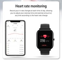 Smart Watch Fitness Tracker with Heart Rate Monitor - Black