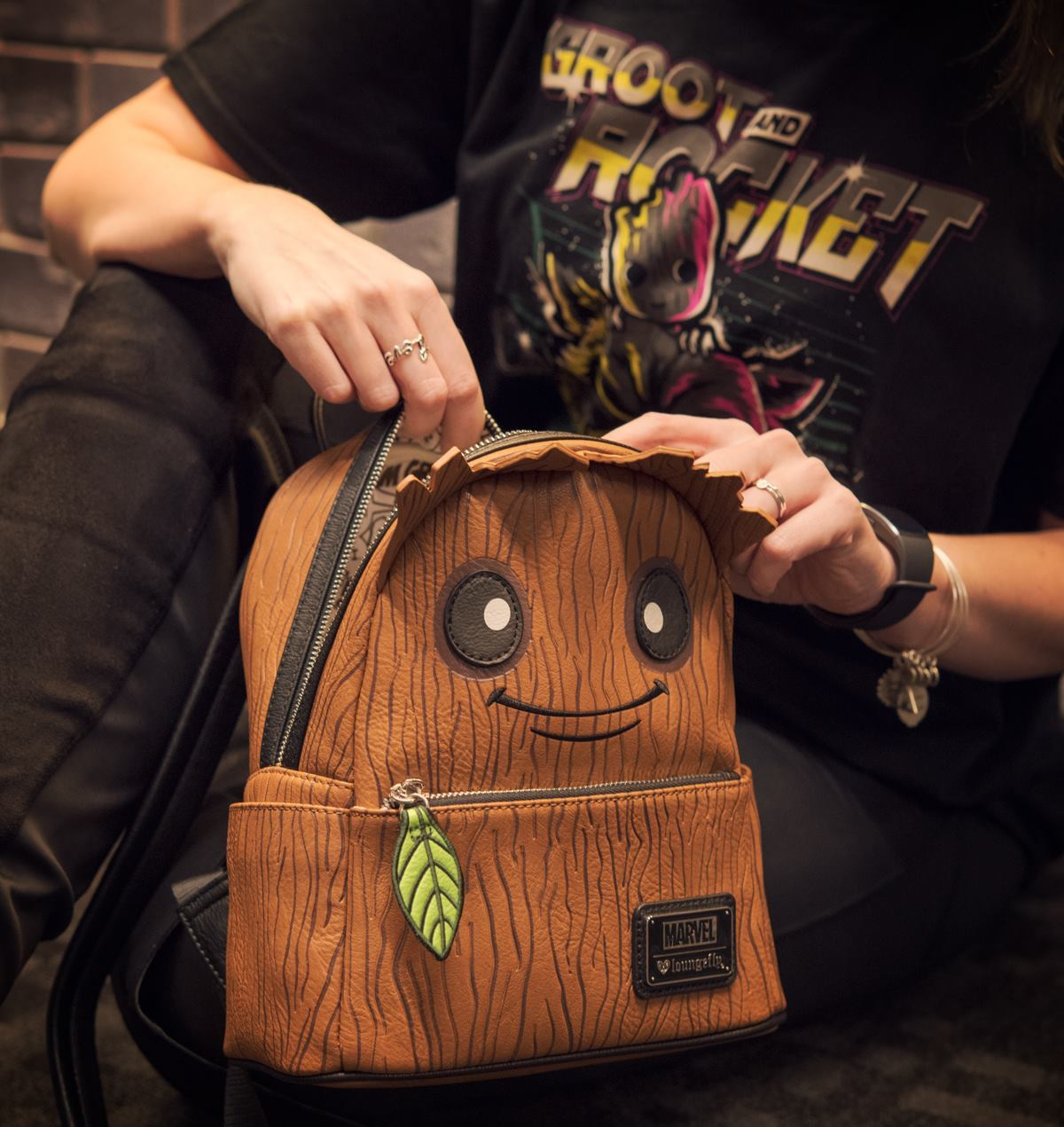 ... Loungefly  Marvel s GOTG - Groot Leaf Mini Backpack image 43e1877554fc1